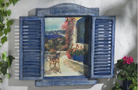 Fensterladen Mit Motiv-Strohseide