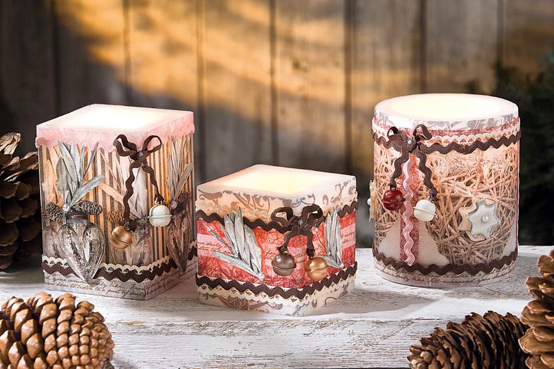 Kerzen mit dreidimensionaler Deko  Bastelshop und Hobby