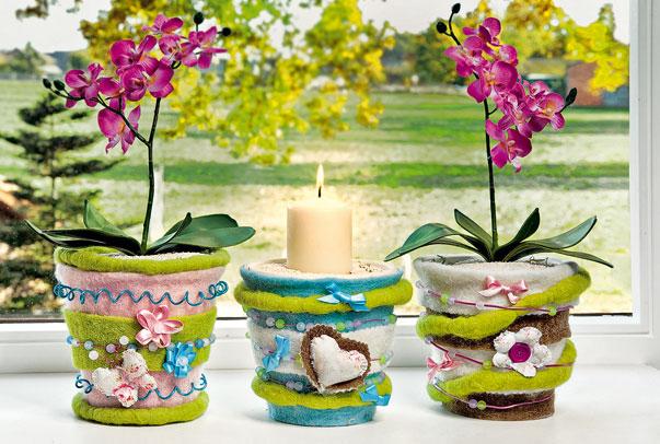 Blument pfe mit filz draht und perlen vbs hobby bastelshop for Bastelideen blumentopf