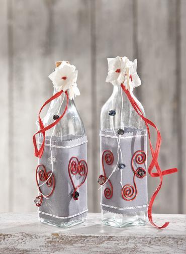deko flaschen mit draht ornamenten bastelshop und hobby vbs bastelbedarf. Black Bedroom Furniture Sets. Home Design Ideas