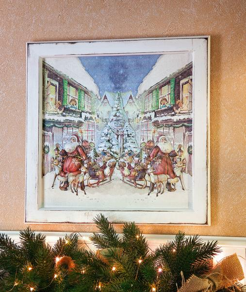 weihnachtlich gestalteter holz bilderrahmen bastelshop und hobby vbs bastelbedarf. Black Bedroom Furniture Sets. Home Design Ideas