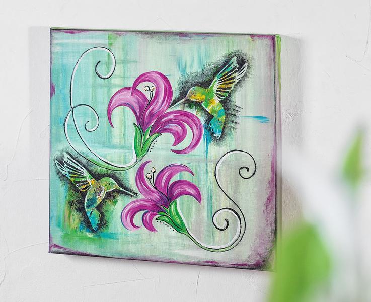 farbenfrohes kolibri motiv auf keilrahmen bastelshop und hobby vbs bastelbedarf. Black Bedroom Furniture Sets. Home Design Ideas