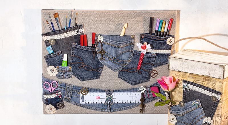 praktischer organizer aus alten jeans hosen bastelshop und hobby vbs bastelbedarf. Black Bedroom Furniture Sets. Home Design Ideas