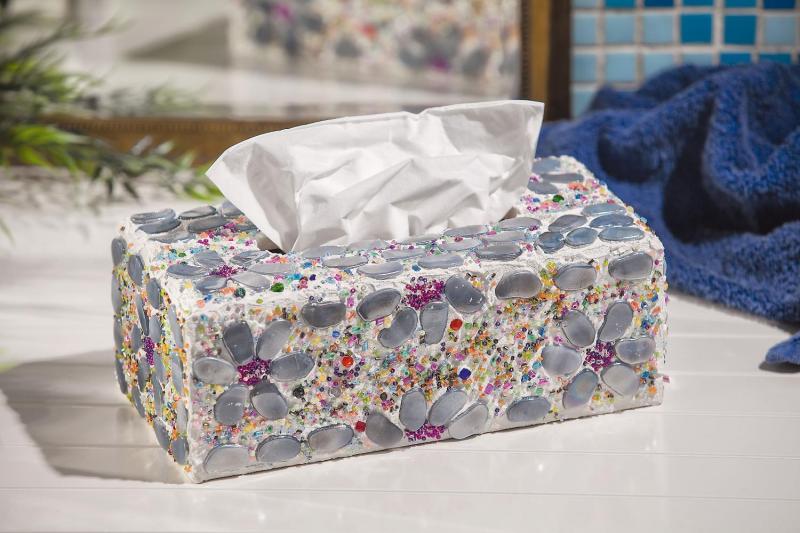 Kosmetiktuch-Box Mit Blumen-Mosaik