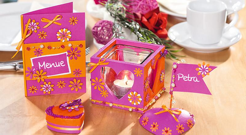 Hochzeitsdeko In Pink Und Orange Bastelshop Und Hobby