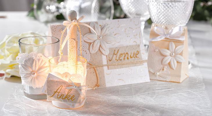 Hochzeitsdeko in creme und wei bastelshop und hobby vbs for Hochzeitsdeko creme