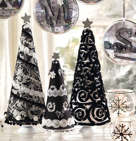 Stylische Weihnachtsbäume im Schwarz-Weiß-Design   VBS Hobby Bastelshop