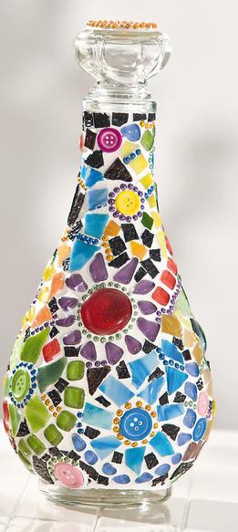 glasflasche mit buntem blumen mosaik vbs hobby bastelshop. Black Bedroom Furniture Sets. Home Design Ideas