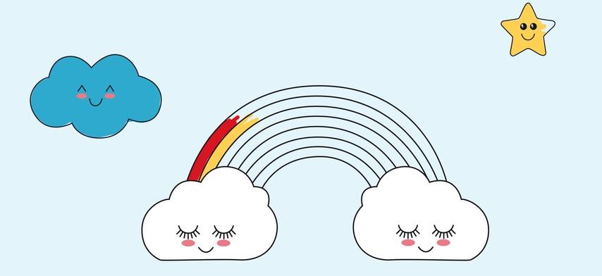 Eine Himmel Und Regenbogen Vorlage Premium Vektor