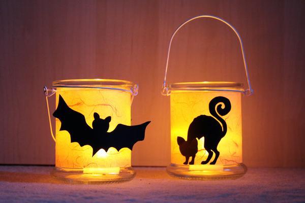 halloween deko selber machen teelichter f r halloween vbs hobby. Black Bedroom Furniture Sets. Home Design Ideas