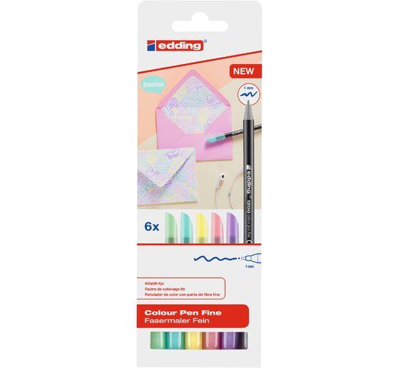 edding 1200 Colour Pen Fine Pastell, 6er-Set