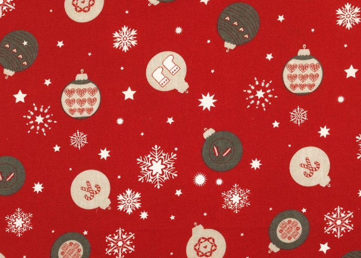 Dekostoff mit Weihnachtsdruck