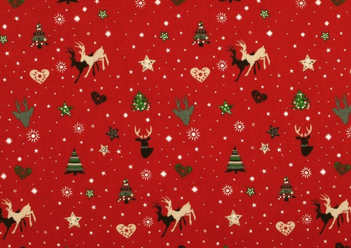 Weihnachtsstoff in Rot mit Weihnachtsmotiven