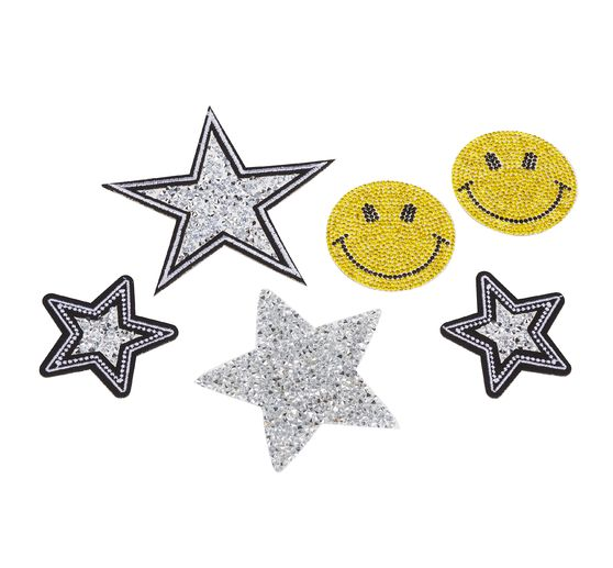 "VBS Strass-Bügelapplikationen ""Smile & Stars"", 6er-Set"