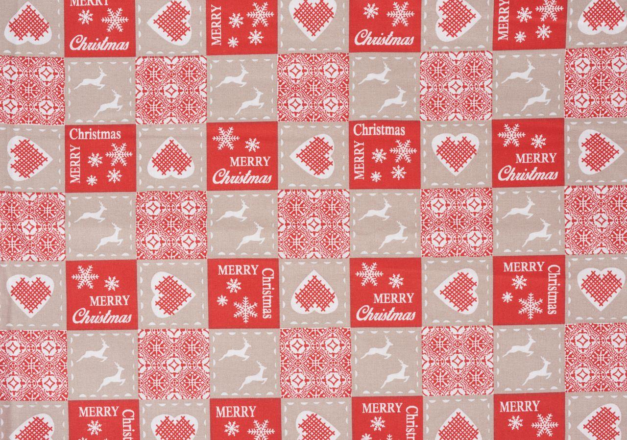 Weihnachtsstoff im Patchwork-Look