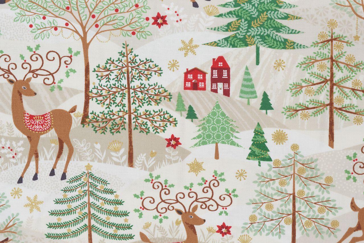Stoff für Weihnachten mit Rentieren im Wald
