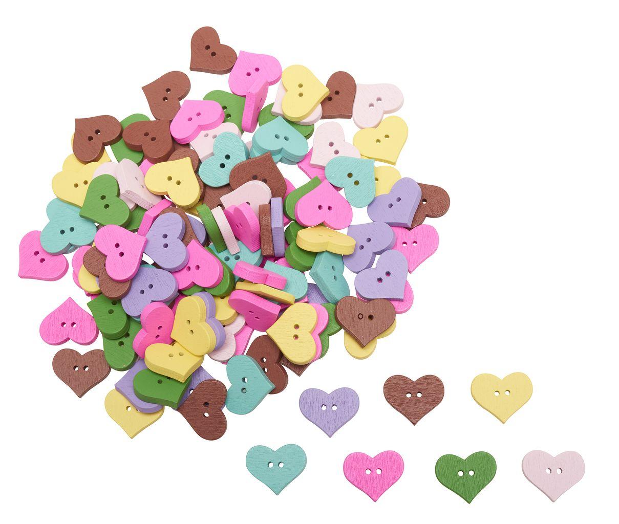 Herzknöpfe aus Holz