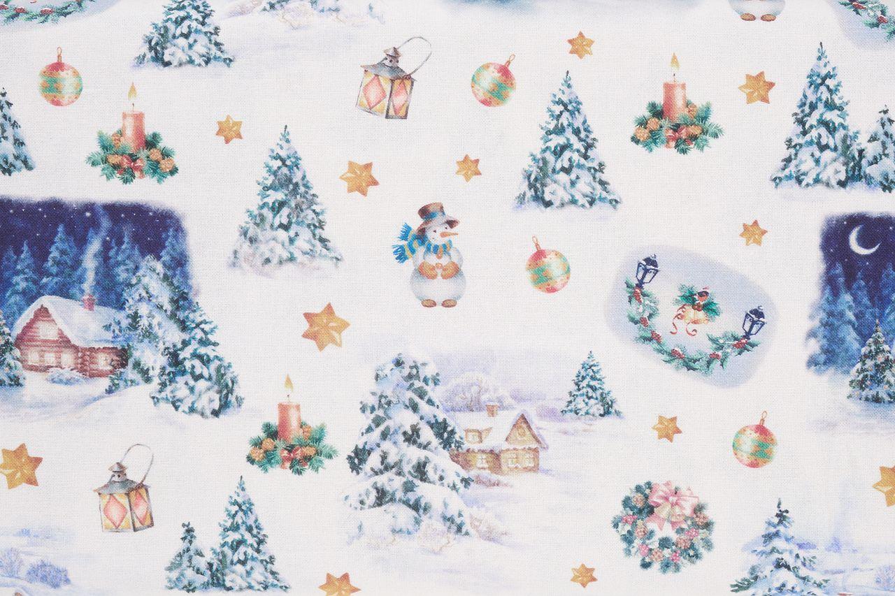 Stoff mit Weihnachtsmotiven