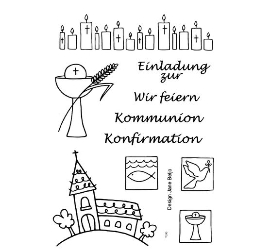 "Clear Stempel-Set ""Kommunion/Konfirmation"""
