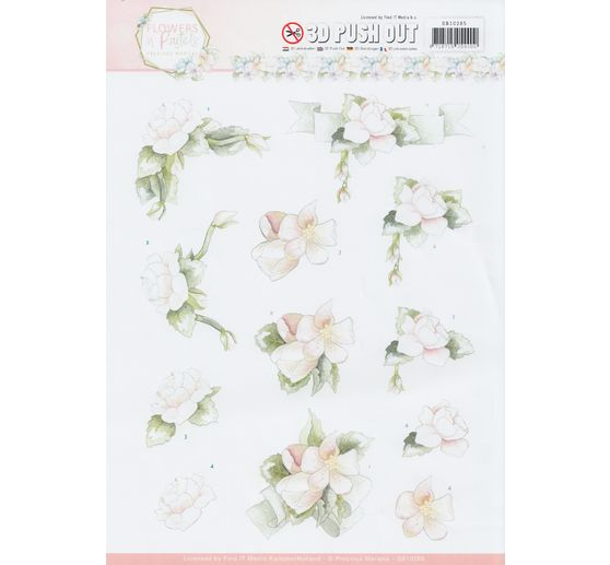 "3D-Stanzbogen-Set ""Flowers in Pastels"""