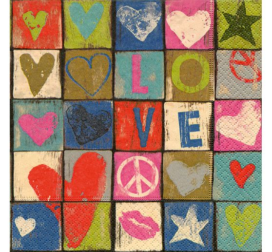 "Serviette ""Love and Peace"""