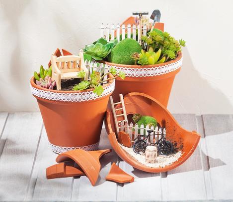 Mini-Garten im Terrakotta-Trio   VBS Hobby Bastelshop