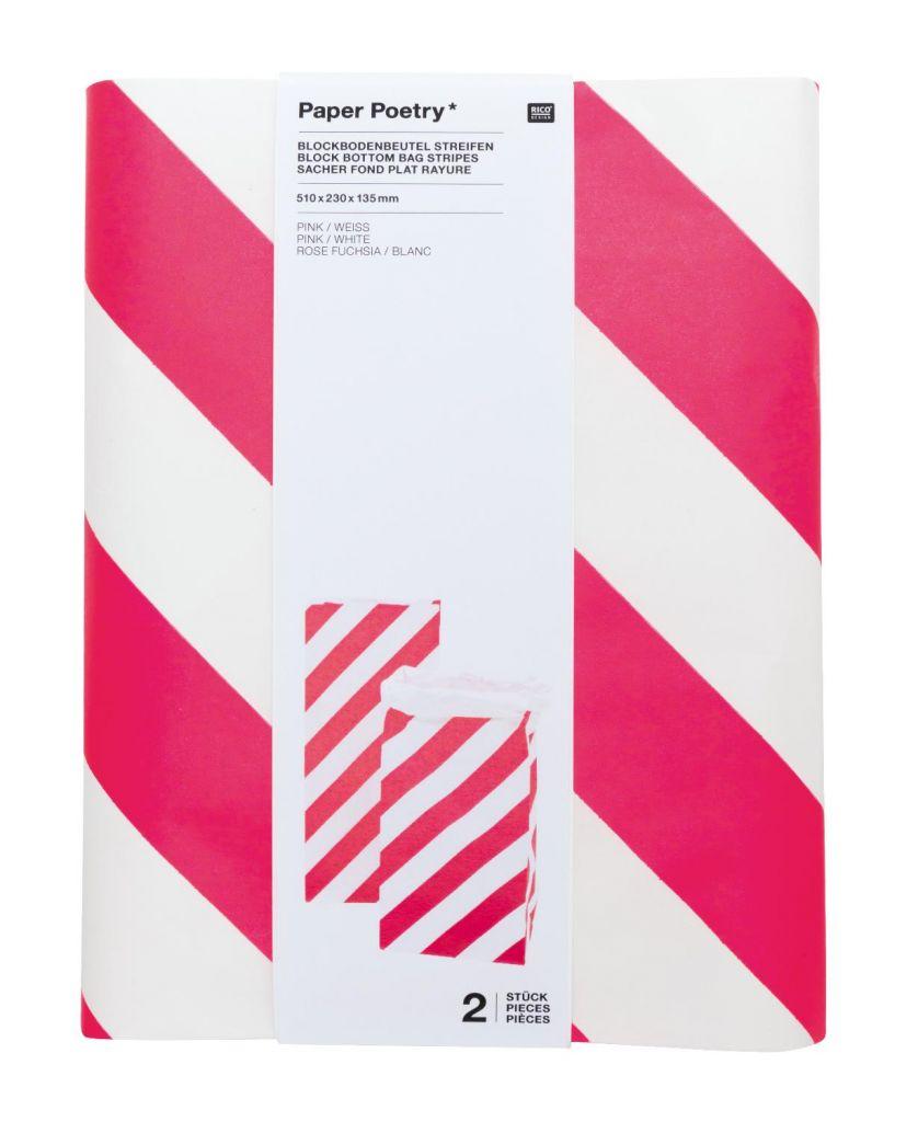 Blockbodenbeutel, Pink-Weiß - Punkte, Größe L