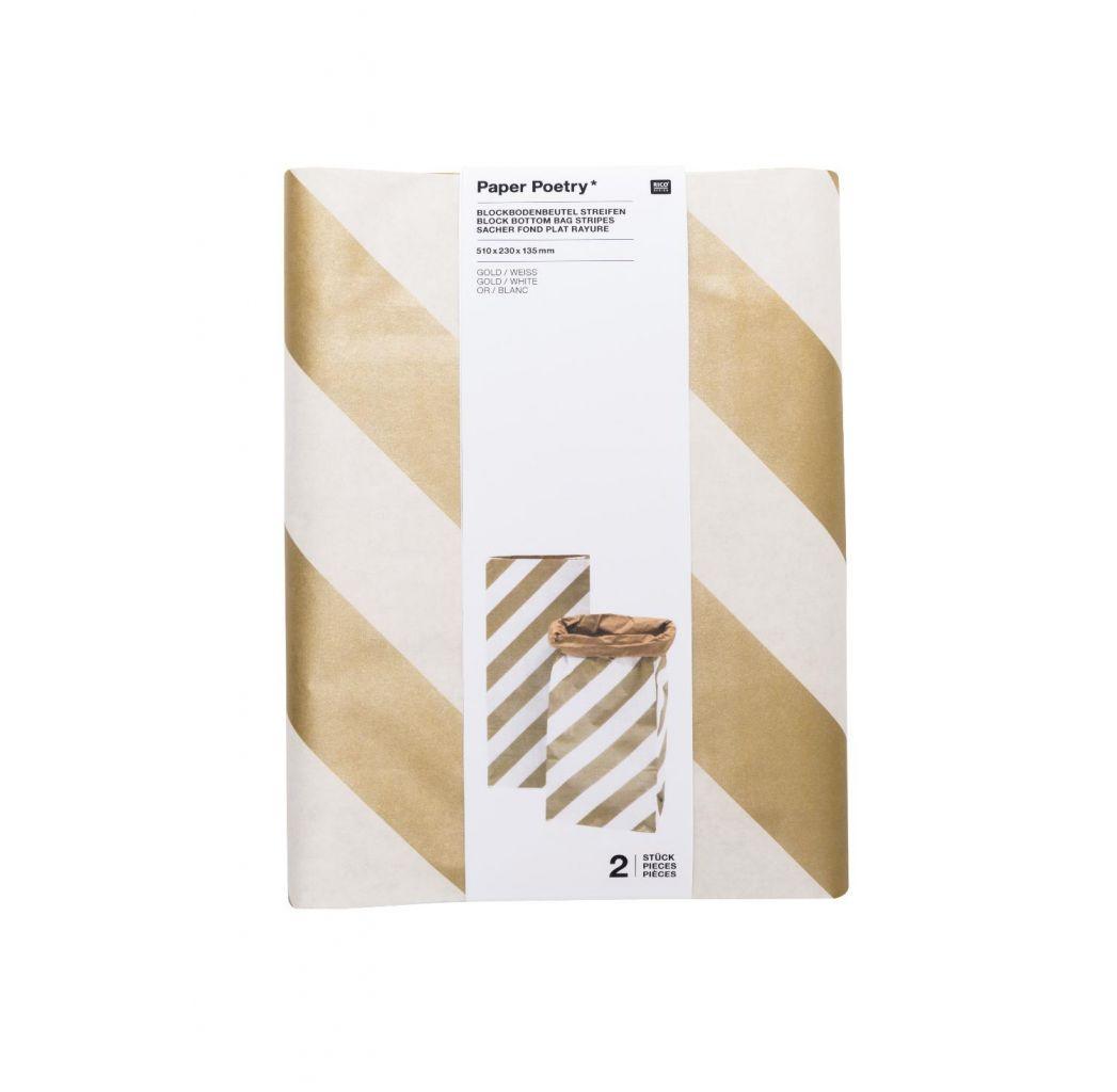 Blockbodenbeutel, Gold-Weiß - Karo, Größe XL